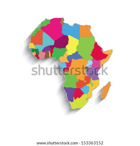 raster Africa political colors map paper 3D individual states puzzle