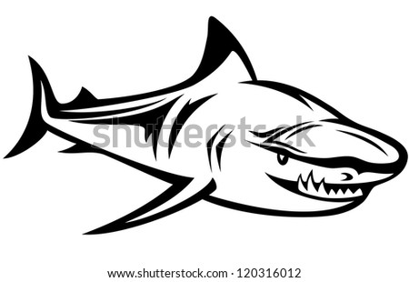 raster - aggressive shark black and white outline  (vector version is available in my portfolio) - stock photo