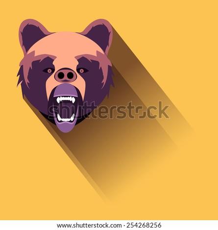 Raster Angry Bear Flat Design - stock photo