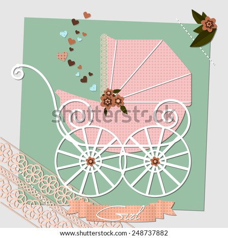 Raster Baby shower invitation template illustration, happy birthday card for newborn baby girl with a pink vintage stroller, ribbons and scrap book elements - stock photo