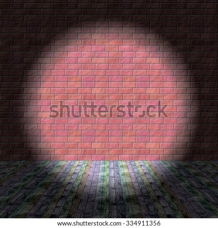 Raster backdrop - simulated room with wooden boards floor and brick wall -  illuminated spotlight - useful as a texture into a computer game. - stock photo