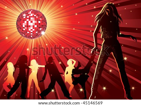 RASTER background - design with dancing people, disco-ball and glitters