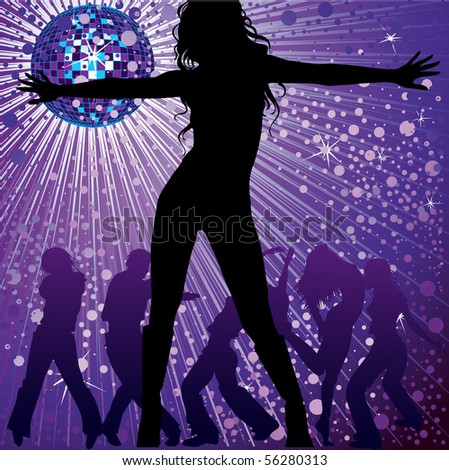 RASTER background with people dancing in night-club, disco-ball and glitters - stock photo