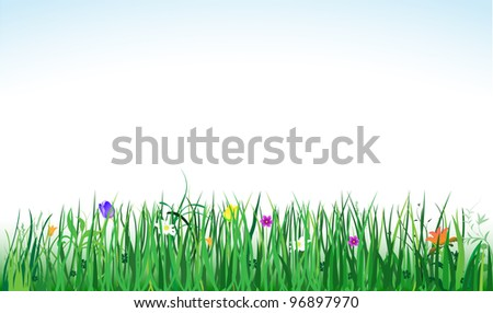 raster banner with green grass and colorful flowers, vector version available - stock photo
