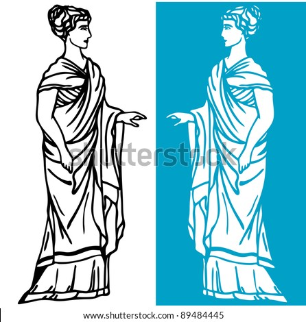 raster - beautiful greek woman wearing long tunic (vector version is available in my portfolio) - stock photo
