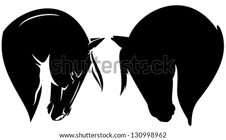 raster - beautiful horse head profile - black outline and silhouette (vector version is available in my portfolio) - stock photo
