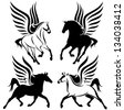 raster - black and white pegasus design - winged horses set (vector version is available in my portfolio) - stock photo