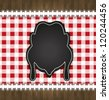raster blackboard menu tablecloth lace chicken - stock photo