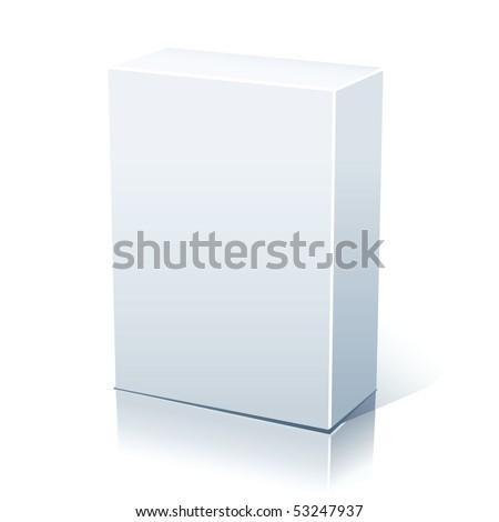 Raster blank white box isolated on white - stock photo