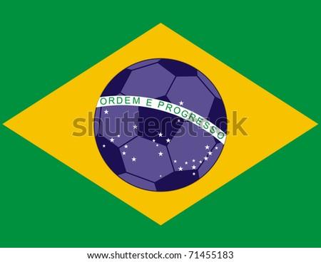 Raster Brazil Football Soccer Flag - stock photo