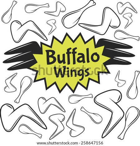 Raster Buffalo Wings Emblem with Chicken Legs and Wings. - stock photo