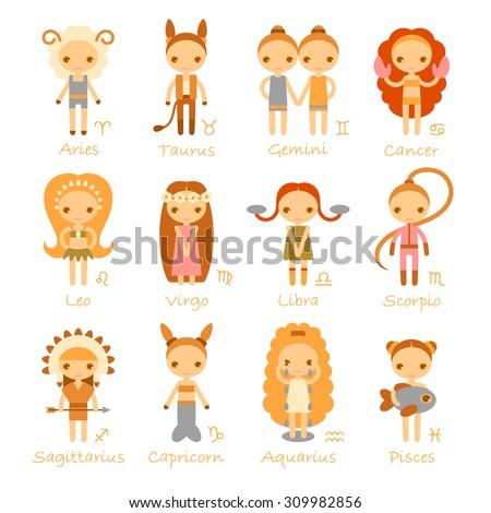 raster cartoon isolated zodiac signs Aries, Taurus, Gemini, Cancer, Leo, Virgo, Libra, Scorpio, Sagittarius, Capricorn, Aquarius and Pisces - stock photo