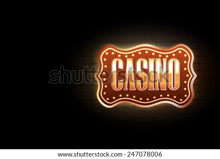 Raster Casino Sign on The Wall With Copy Space - stock photo