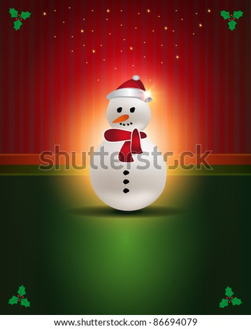 raster Christmas cards Red Green snowman congratulations template - stock photo