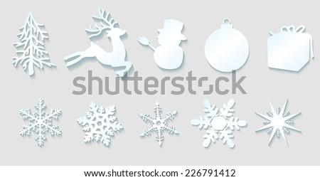 Raster Christmas Decoration Elements On Gray Background - stock photo