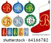 Raster Christmas Font Letter B - stock photo