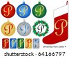 Raster Christmas Font Letter P - stock photo