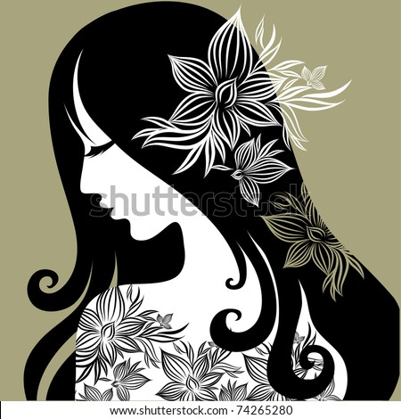 "RASTER closeup portrait of woman with flower in long hair (From my big ""Vintage woman collection "") - stock photo"
