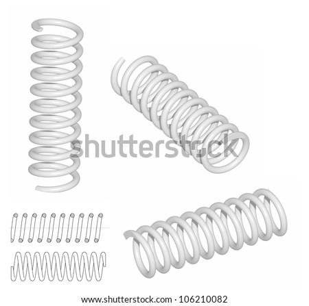 Raster: Coil spring 3D render and line drawing - stock photo