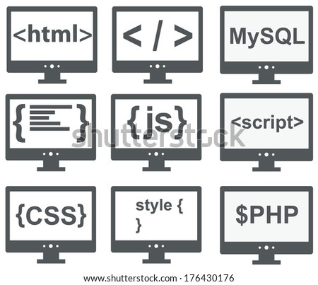 raster collection of web development icons: html, css, tag, mysql, curves, php, script, style, javascript - isolated on white background - stock photo