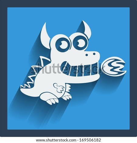Raster copy. Funny white dragon in flat design on blue. Web and mobile animals icon. - stock photo