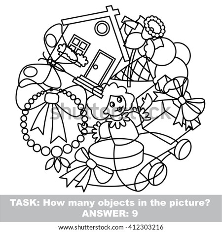 Raster copy. Girl toy mishmash set outlined to be colored.  Find all hidden objects on the picture. - stock photo