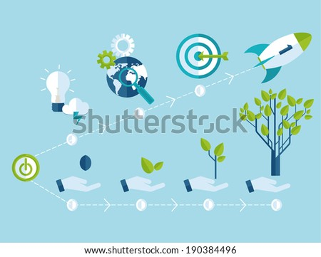 Raster copy growth and startup concept in flat style - signs and banner - new business.  - stock photo