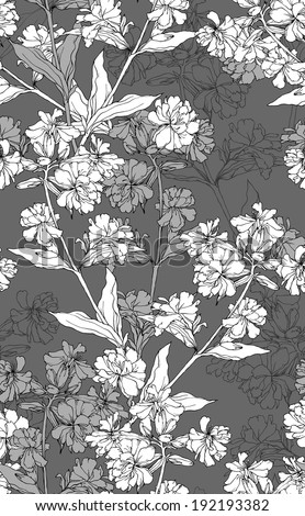 Raster copy of  seamless floral pattern with hand drawn flowers. - stock photo