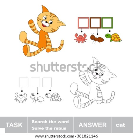 Raster copy. Orange cat toy waving red paw. What is the word hidden. Task and answer. Page to be colored. A children game. Solve the riddle. - stock photo