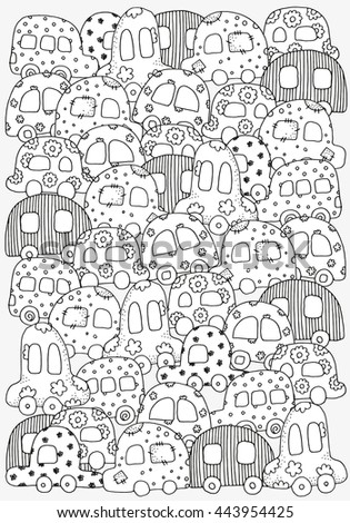 Pattern For Coloring Book With Doodle Style Hand Drawn Kids Cars A4