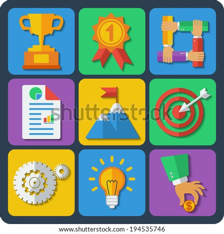 Raster copy. Set of 9 web and mobile icons in flat design. Business achievement, goal, success concept - stock photo
