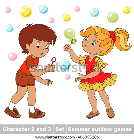 Raster copy. Small baby boy and girl friend playing in the yard inflate soap bubbles. Bubbles fly the two children have fun.  Summer outdoor hobby games for children. Kids summer games. - stock photo