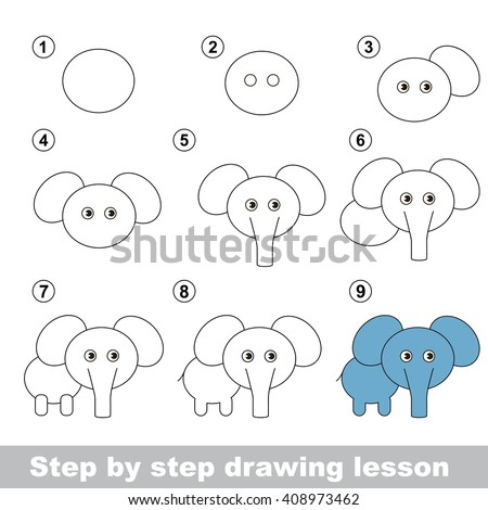 Raster copy. Step by step drawing tutorial. Vector kid game. How to draw a Elephant - stock photo