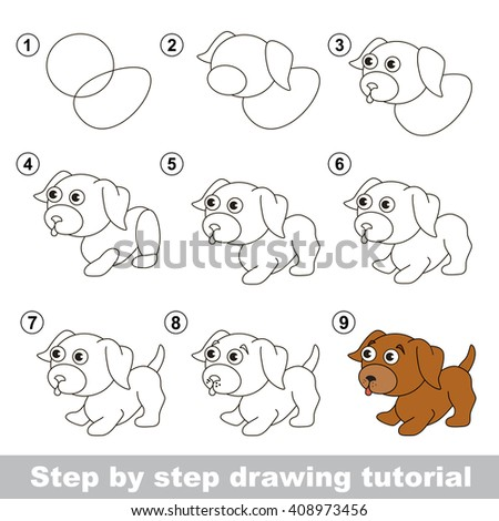 Raster copy. Step by step drawing tutorial. Visual game for kids. How to draw a Little puppy - stock photo