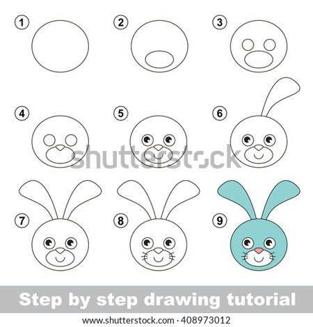 Raster copy. Visual game for kids. How to draw a Hare Head - stock photo