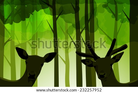 Raster Deers in Bright Green Forest - stock photo