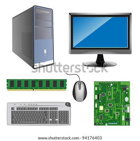 raster detailed computer hardware icons on white background, vector version available