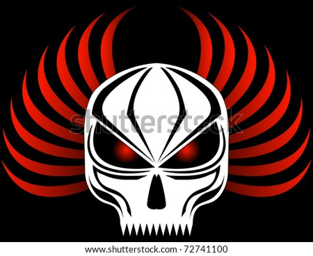 Raster Evil Skull with Red Wings - stock photo