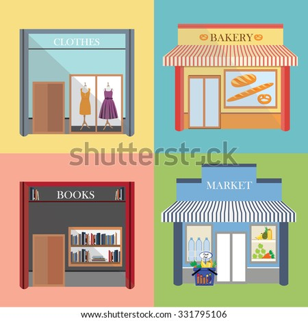 raster flat design architecture detailed icons.  Facade with awning, book store, boutique, small bakery and grocery market. Small business icons with store facades - stock photo