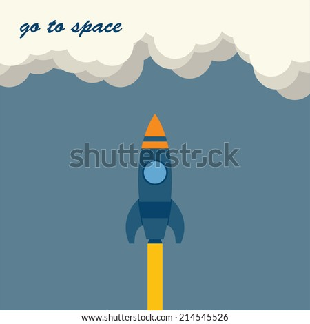 Raster flat illustration of rockets flying in the sky to the cloud.Space tourism,exploration, travel to the orbit, NASA missiles,toy cartoon rockets.Concept of modern successful startup, project start - stock photo