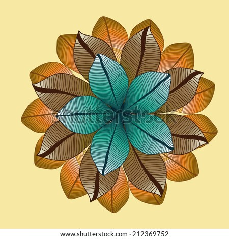 Raster floral pattern. round drawing with leaves. Autumn. - stock photo