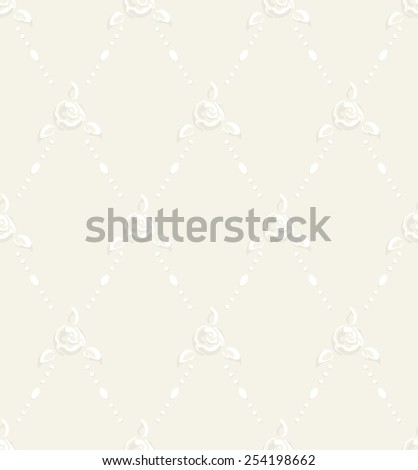 Raster floral seamless pattern with stylized white rose flowers, leafs, pearl and solid ivory background in sentimental wedding style, tender and delicate - stock photo