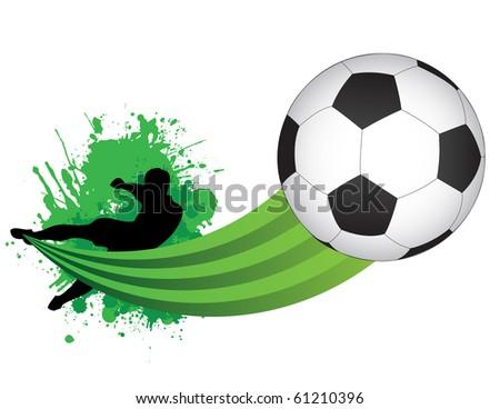 Raster Footballer kicking a ball - stock photo