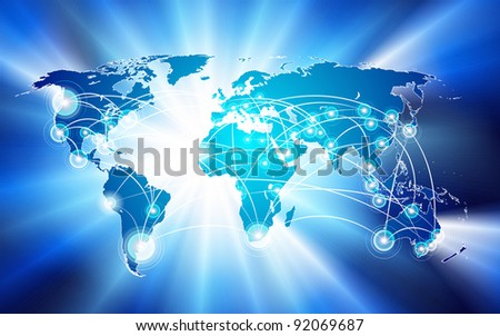 raster global network connection concept - stock photo