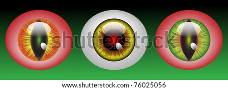 Raster Glossy monster eyeballs in three colors on green background - stock photo