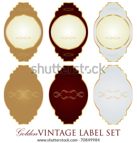 Raster golden vintage label set(vector available in portfolio)