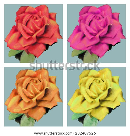 Raster hand drawn illustration with bright colorful roses.  Hand drawn watercolor flowers - stock photo