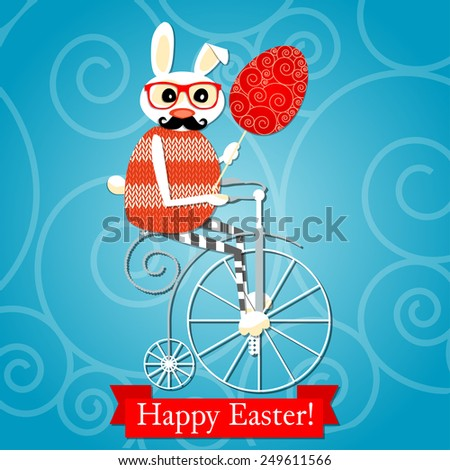 Raster  Happy Easter card with hipster rabbit and the egg. Easter Bunny Ears - stock photo