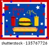 raster happy fourth of july design - stock photo