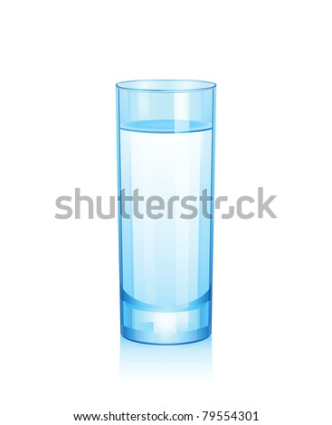 Raster high blue glass with water. - stock photo